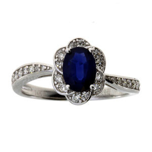 14K White Gold Sapphire Diamond Flower Ring
